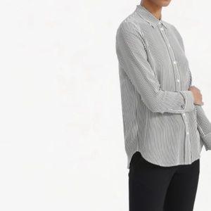 Everlane Silk Relaxed Stripe Button Down Shirt